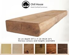 Thick Rustic Floating Shelf Wood Solid Round Chunky Handmade with Brackets 9x3