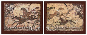 The Howling Moon (Diptych) Art Print by Cecilia Henle- Horse Wolves Hunt