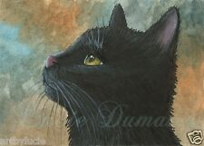 ACEO art print black Cat 545 from original painting by L.Dumas