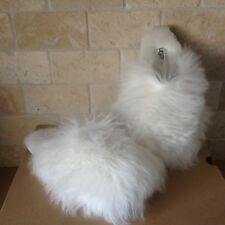 UGG FLUFF MOMMA LONG MONGOLIAN CLOG WHITE FLUFFY SLIP-ON SLIPPERS SIZE 9 WOMENS