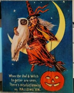HALLOWEEN WITCH Sitting on CRESCENT MOON with HUGE OWL Vintage REPRO Postcard