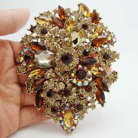 "3.94""Unique Flower Drop Brooch Pin pendant Topaz Rhinestone Crystal25"