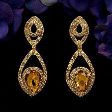 18K Gold Plated GP Topaz Crystal Rhinestone Drop Chandelier Dangle Earrings 6003