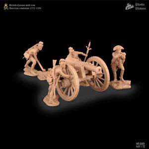 Plastic Platoon Toy Soldier British Cannon With Crew American Revolution 1775-83