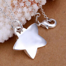 Silver Plated Star Pendant & Necklace.Chunky 925 Sterling .Heavy 45cm 18 inches