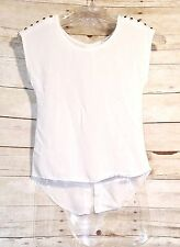 BODY CENTRAL Hi/Low hemline White Cotton open back with buttons on back Size Sm