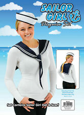 Navy Sailor Girl Kit Scarf & Hat Ladies Fancy Dress Sexy Costume Instant Outfit