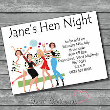 Pk 10 Personalised Hen Night / party  Invitations  Style 10 glossy or linen