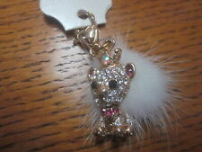 King Clip On Pocketbook Decoration Fashion Jewelry Goldtone W/Crystal Baby Lion
