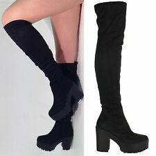 High Heel (3-4.5 in.) Faux Suede Pull On Boots for Women