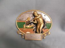"Baseball home run trophy resin plate green background color 7"" size"