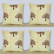 "16"" Indian Brown Palm Tree Hand Block Cushion Cover Cotton Pillow Case 4 Pcs Set"