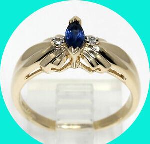 .30CT diamond sapphire ring 14K YG marquise round brilliant birthstone size 8