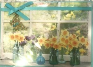 Papyrus Easter Card - Daffodils & Tulips in Mason Jar Vases with Butterfly Charm