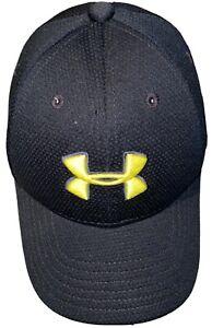 UNDER ARMOUR Youth Boys BASEBALL CAP HAT Small Medium S M Black Neon Yellow Logo