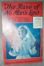 1918 THE ROSE OF NO MAN'S LAND Vintage WWI Sheet Music War Edition by Brennan