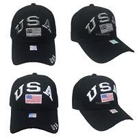Mens Baseball Cap American Flag Army Hat Visor Adjustable Strapback Military Cap
