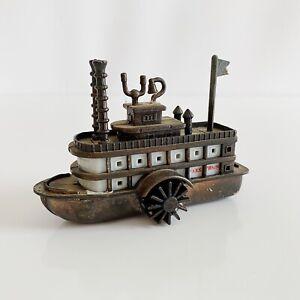 "Mark Twain Steamboat Cruise Ship Vintage 2.25"" Brass Pencil Sharpener"