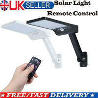 Remote 48 LED Solar PIR Motion Sensor Wall Light Outdoor Yard Street Lamp UK