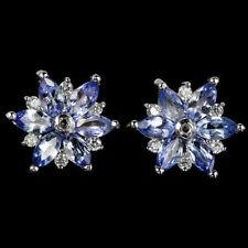 Sterling Silver 925 Delicate Genuine Natural Rich Blue Violet Tanzanite Earrings