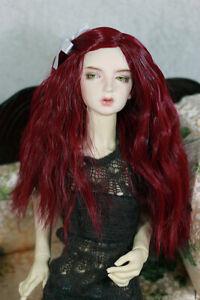 "1/4 7-8"" BJD DOLL WIG MSD RED WAVY BANGS HAIR LUTS DOLLFIE JR-145 NEW USA"