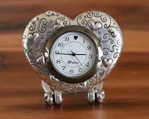 "Brighton Heart Silver Tone 3"" Foldable Travel Desktop Clock *Not Running"
