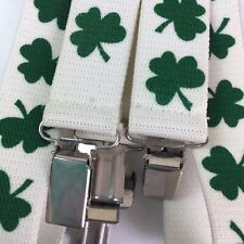 St. Patricks Day Suspenders Green Clover Vintage? Costume Mens Womens