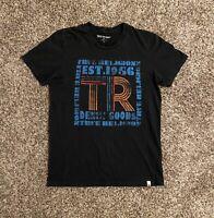 True Religion Mens T-Shirt Small Short Sleeve Black Blue Graphic Spell Out EUC