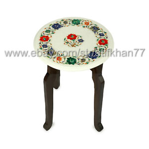 Round Modern Mosaic Accent Table Home Decor Marble Inlay Tea End Table