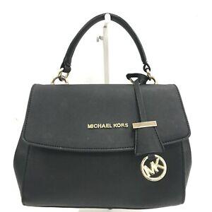 Michael Kors Bag Women's Black Leather Medium Grab Tote Handbag 111373