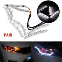 Pair Tears Switchback Flowing Turn Signal Lamp Car DRL LED Brake Light Strip