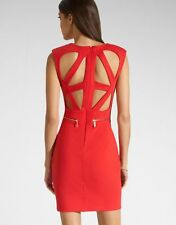 Lipsy Kardashian Red Pencil Dress Size 10 Cut Out Back Gold Zip Bodycon Party