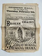 1878 Broken Chains Broadside/Program for Early African American Musical