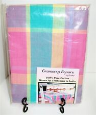 "Gramercy 100% Cotton Plaid Easter Tablecloth ~ Pastel Multi ~ 60"" x 84"" Oval NEW"