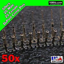 50x Dupont Jumper Wire Pins 25x Male / 25x Female Crimp Connectors 50pcs Q28