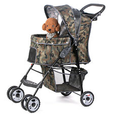 Green 4 Wheels Pet Stroller Folding Dog Cat Puppy Carrier Strolling Cart Travel