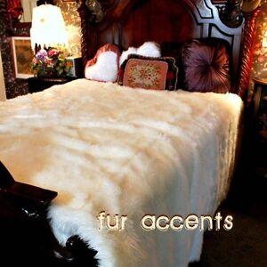 Faux Fur Bedspread - Comforter - Throw Blanket - White - Luxury Fur FUR ACCENTS