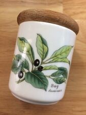 """Bay Leaf  ROYAL WORCESTER HERBS 3.5"""" Tall Spice Jar with Wooden Lid EUC England"""