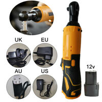Cordless Electric Ratchet Wrench 12V Lithium Ion Battery Charger Kits 1/4 Drive