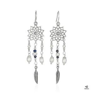 925 Sterling Silver Lotus Mandala Freshwater Pearl Dream Catcher Dangle Earrings