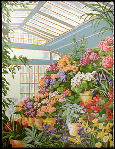 """Genevieve Reckling """"Summer Greenhouse"""" Signed & Numbered Serigraph Art flowers"""