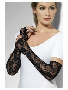 NEW Ladies Long Gothic Lace Gloves Black Halloween Fancy Dress Accessories