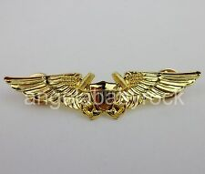 AMERICAN NAVY INSIGNIA US NAVAL FLIGHT OFFICER WINGS BADGE PIN GOLDEN-0454