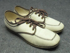 Brunswick Women's Bowling Shoes Tan w Brown Vintage Laced Size 7 M Made in USA