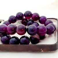 An Absolutely Beautiful Strand of Large 15mm Purple Agate Beads Necklace