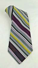 """Vintage Purple and Gold Yellow Striped Neck Tie Fashion Craft 54"""" Long Dress Tie"""