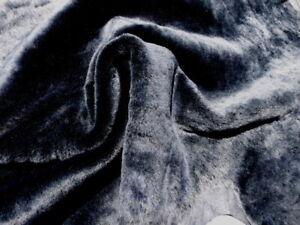 sheepskin shearling leather hide Silver Tip Dark Blue silky hair w/smooth back
