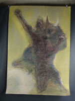 Man Fighting Devil Demon Abstract Gouache & Pastel Drawing Painting Vtg Russian