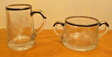 daisy pattern etched glass sugar and creamer