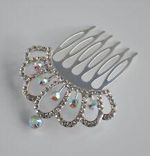 Small clear crystal/diamante/rhinestone princess crown bun hair comb slide. UK